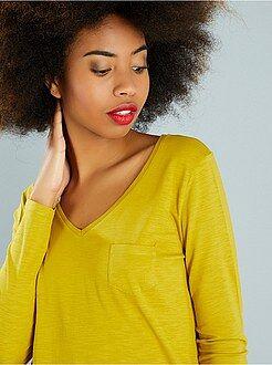 Mujer Camiseta de manga larga con cuello en V de punto flameado