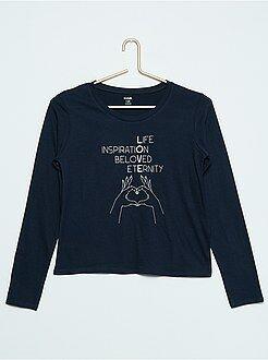 Niña 10-18 años Camiseta de manga larga con estampado de fantasía