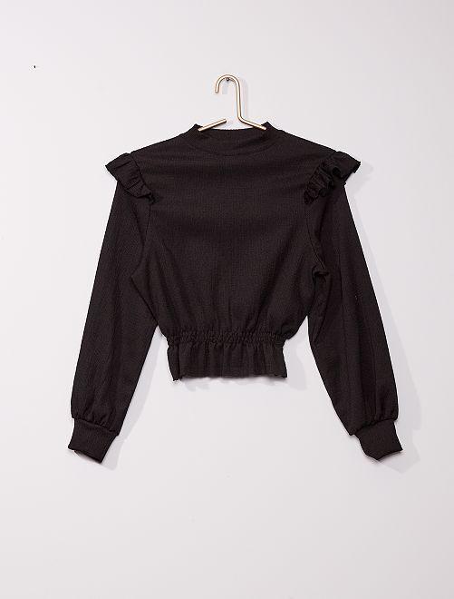 Camiseta de manga larga con volantes                             negro