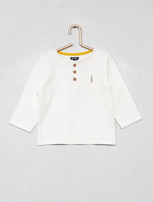 Camiseta de manga larga cuello panadero                                         blanco nieve
