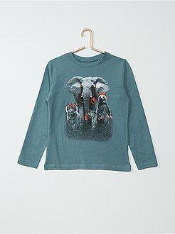 Camisetas, polos - Camiseta de manga larga de algodón estampada