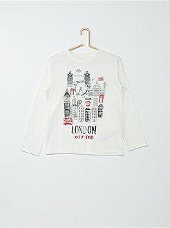 Camiseta de manga larga de algodón estampada