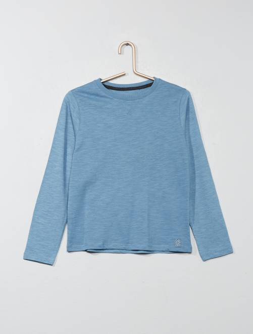 Camiseta de manga larga de algodón puro                                                                                                     AZUL Chico