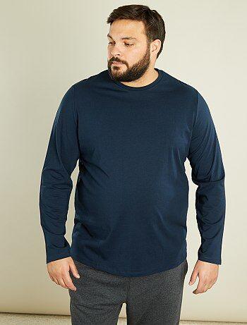 Tallas grandes hombre - Camiseta de manga larga de algodón puro - Kiabi