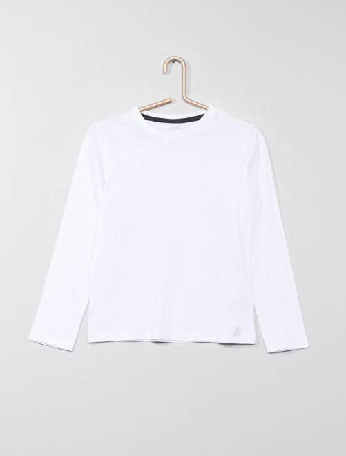 Camiseta de manga larga de algodón puro                                 blanco