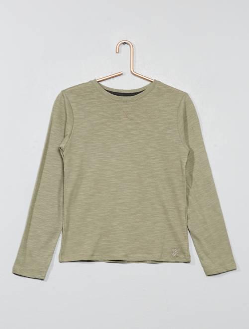 Camiseta de manga larga de algodón puro                                                                 caqui castaño