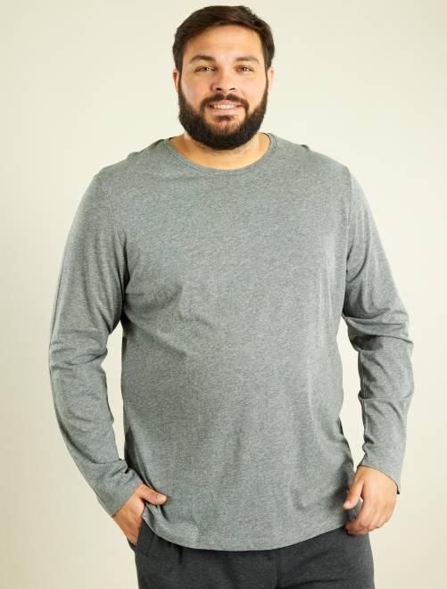 Camiseta de manga larga de algodón puro GRIS Tallas grandes hombre