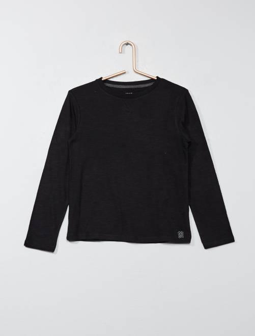 Camiseta de manga larga de algodón puro                                                                             negro Chico