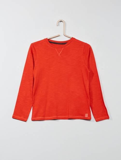 Camiseta de manga larga de algodón puro                                                                                         rojo Chico