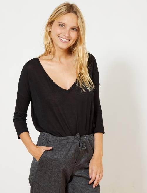 Camiseta de manga larga                     negro Mujer talla 34 a 48
