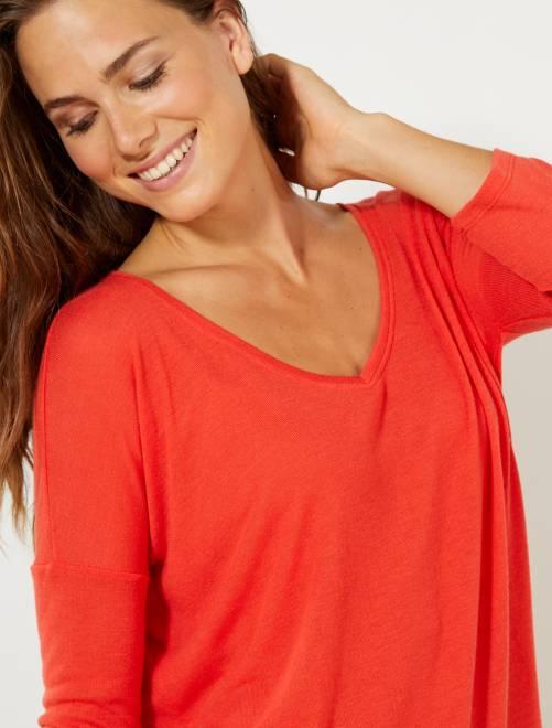 Camiseta de manga larga                                                     rojo Mujer talla 34 a 48