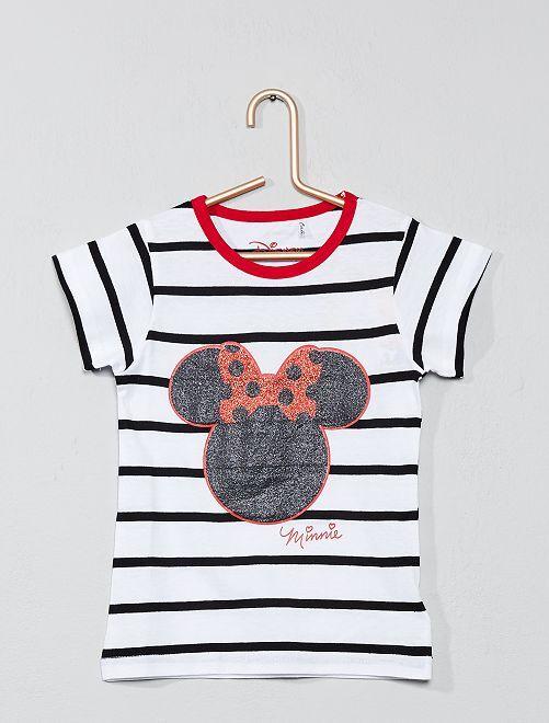 Camiseta de 'Minnie' a rayas con brillos                             blanco Chica