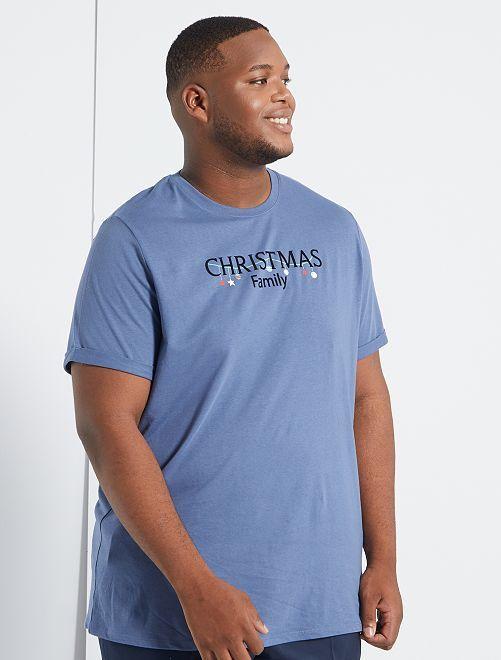 Camiseta de Navidad + bolsa de regalo 'eco-concepción'                     AZUL