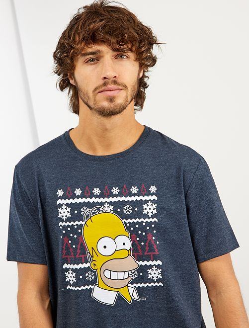 Camiseta de Navidad 'Los Simpson'                             AZUL