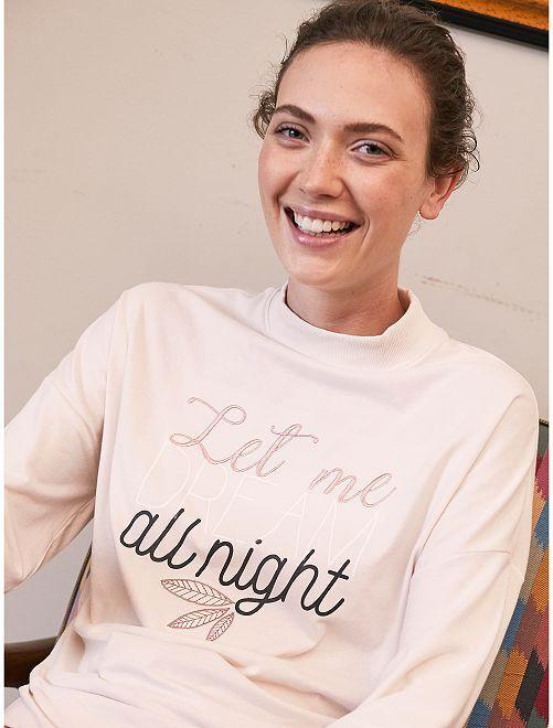 Camiseta de pijama bordada                                         BEIGE Lencería de la s a la xxl
