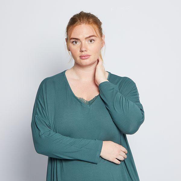 Camiseta De Pijama Con Detalle De Encaje Tallas Grandes Mujer Verde Kiabi 12 00