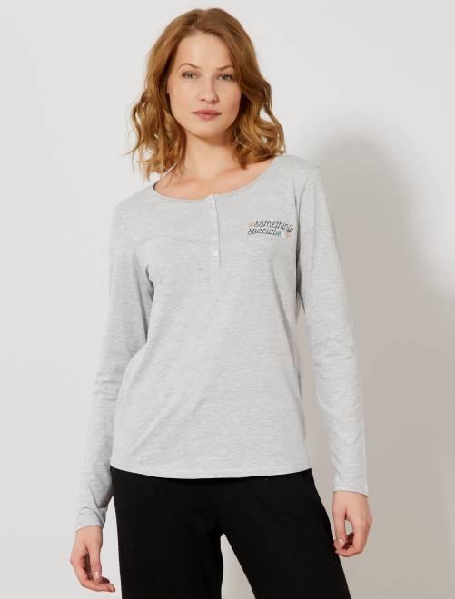 Camiseta de pijama con motivos en el pecho                                         GRIS Lencería de la s a la xxl