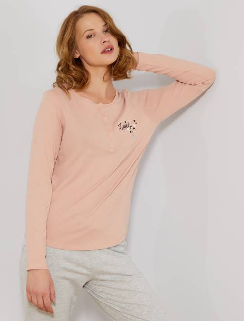 Camiseta de pijama con motivos en el pecho                                         ROSA Lencería de la s a la xxl