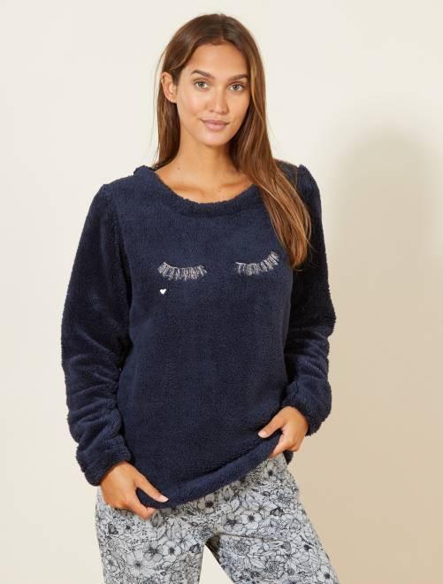 Camiseta de pijama de borreguito                                         azul Lencería de la s a la xxl