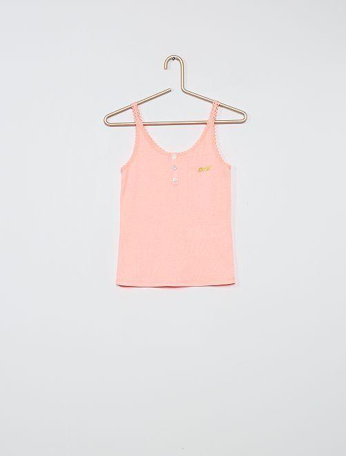 Camiseta de pijama de canalé                                         ROSA