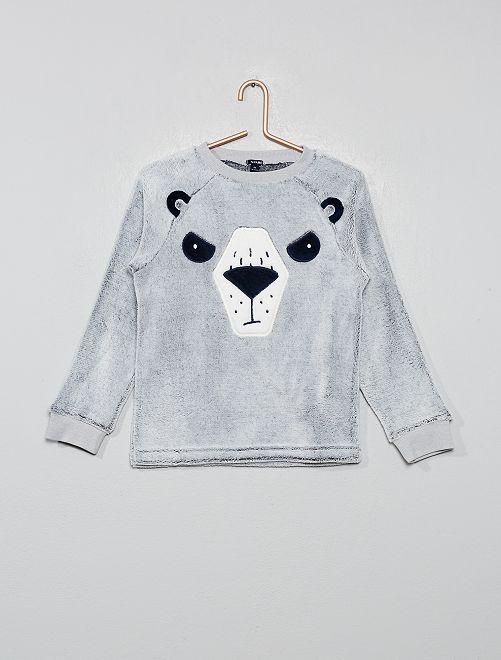 Camiseta de pijama de pelo sintético                                         AZUL