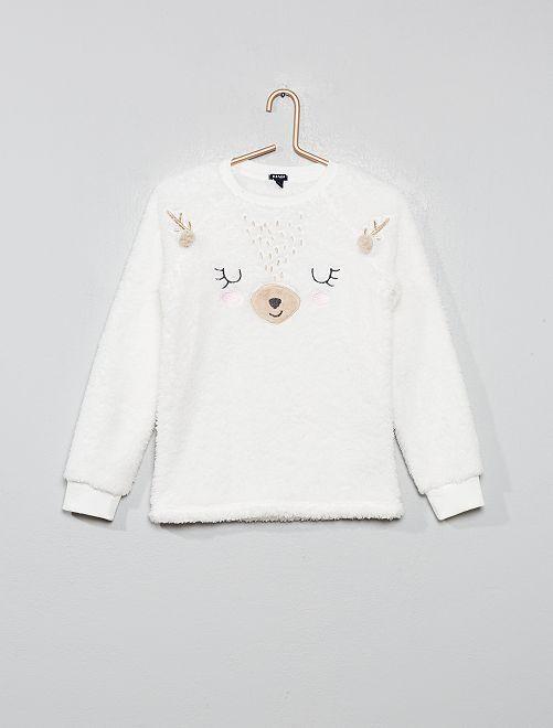 Camiseta de pijama de pelo sintético                             BLANCO