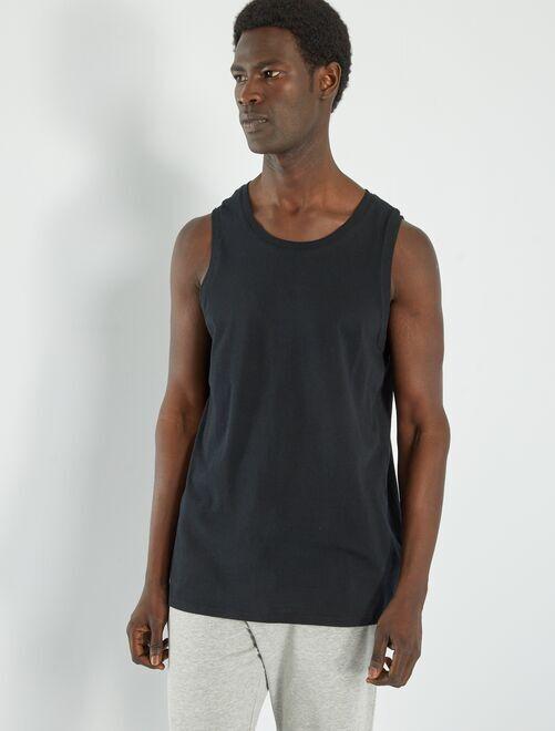 Camiseta de pijama lisa de tirantes                                                     negro