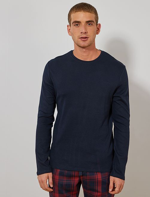 Camiseta de pijama manga larga                                         AZUL