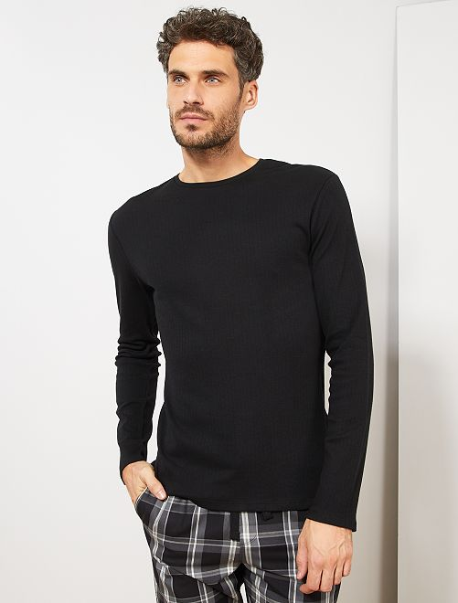 Camiseta de pijama manga larga                                         negro
