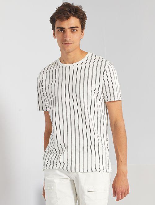 Camiseta de piqué a rayas                                         blanco nieve