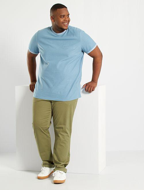 Camiseta de piqué de algodón                     azul gris