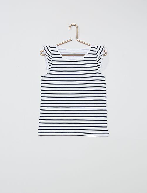 Camiseta de playa sin mangas 'eco-concepción'                     azul marino a rayas