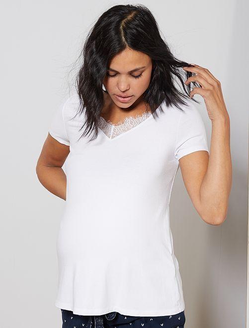 Camiseta de premamá con encaje                                                     blanco nieve Mujer talla 34 a 48