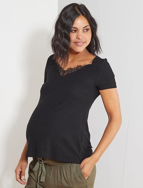 Camiseta de premamá con encaje                                                     negro Mujer talla 34 a 48