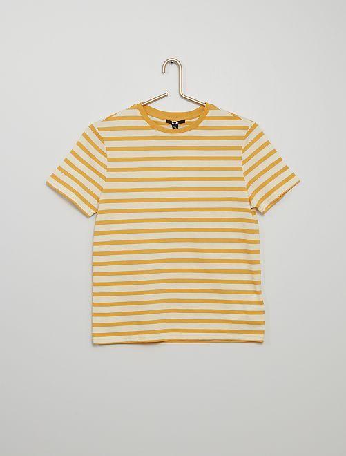 Camiseta de punto a rayas                     AMARILLO