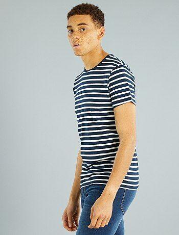 camiseta de punto a rayas hombre azul marino kiabi 3 00. Black Bedroom Furniture Sets. Home Design Ideas