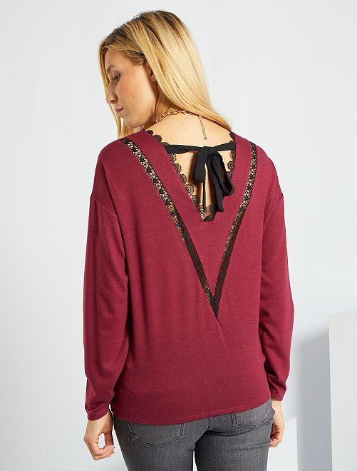 Camiseta de punto abrigado con espalda de encaje                                                                 rojo rododendro