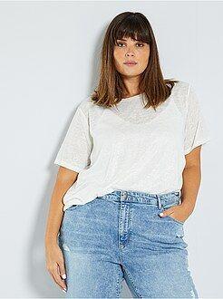 Tallas grandes mujer - Camiseta de punto brillante - Kiabi