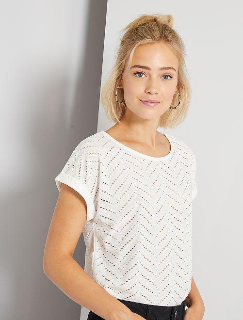 Camiseta de punto calado                                                                 blanco nieve