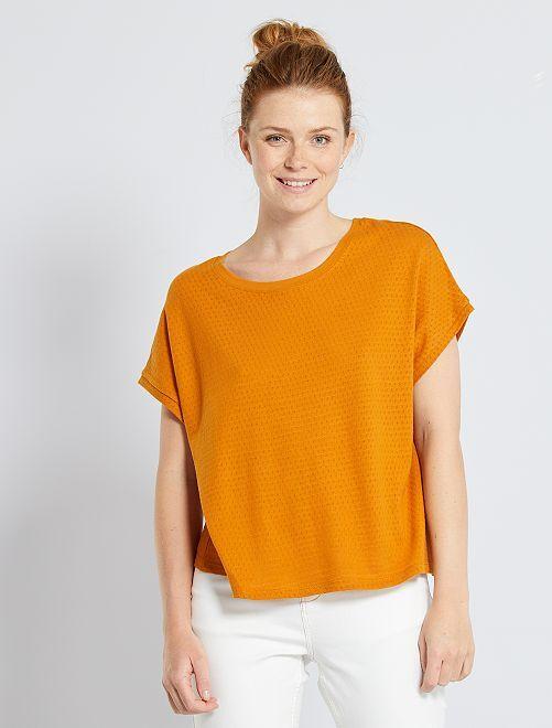 Camiseta de punto calado                             marrón
