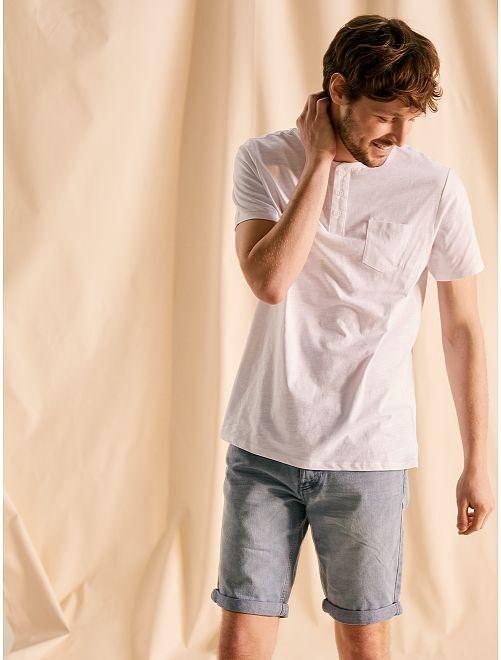Camiseta de punto con cuello abotonado                                         blanco