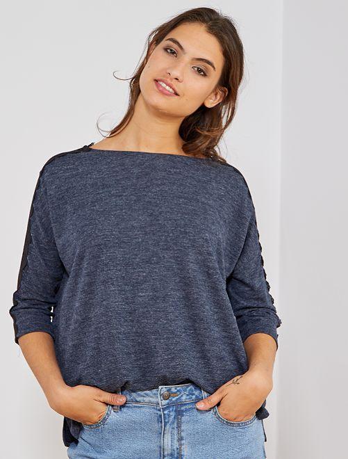 Camiseta de punto con encaje                             AZUL Mujer talla 34 a 48