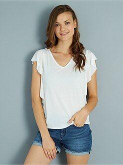 Camisetas manga corta - Camiseta de punto con volantes y lazo en la parte trasera