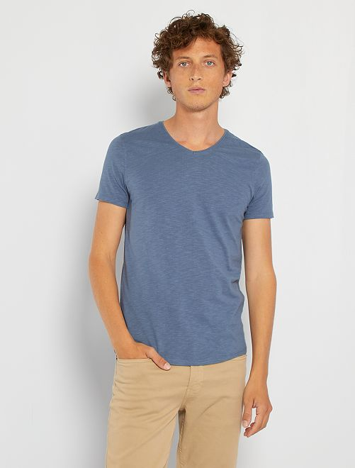 Camiseta de punto de algodón puro                                                                                                                 AZUL