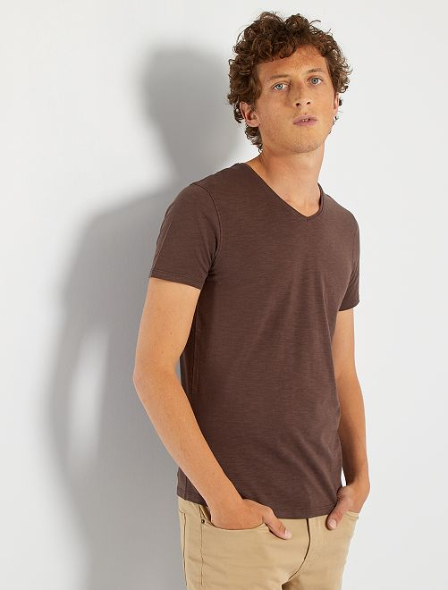 Camiseta de punto de algodón puro                                                                                                                 marrón oscuro