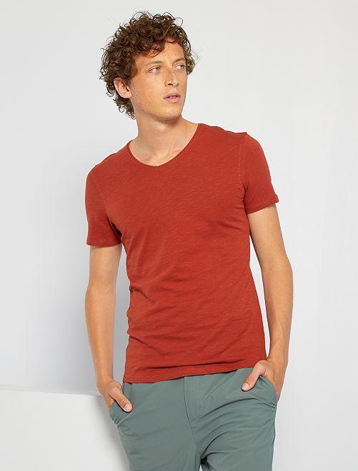 Camiseta de punto de algodón puro                                                                                                                 NARANJA