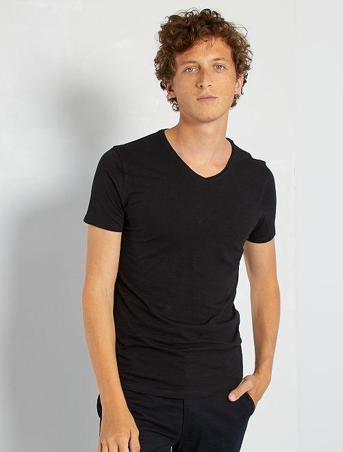 Camiseta de punto de algodón puro                                                                                                                 negro