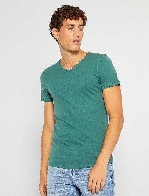Camiseta de punto de algodón puro                                                                                                                 verde oscuro