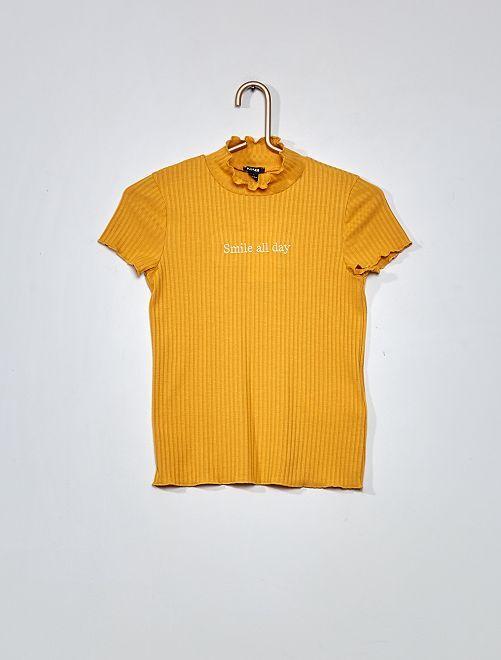 Camiseta de punto de canalé                                         AMARILLO