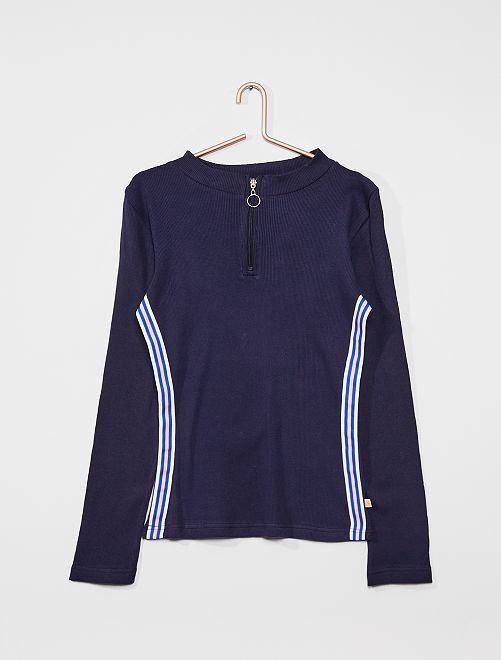 Camiseta de punto de canalé                                         azul